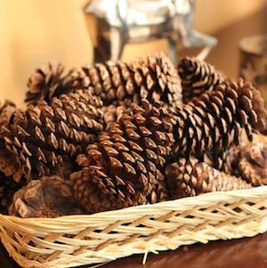 Cinnamon-Scented Pinecones in wicker basket