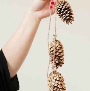 DIY Gold Leaf Pinecone Garland