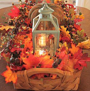 Fall Harvest Centerpiece in wicker basket