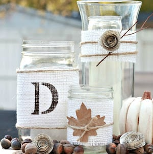 Rustic Fall Centerpiece with burlap ribbons and candles