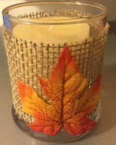 maple leaf burlap candle holder