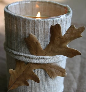 Sweater Fall Candle with Twine Wrapped Fall Leaf