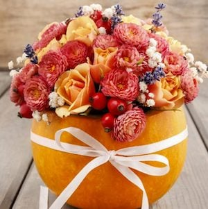 Flower Arrangement in a pumpkin wrapped with a ribbon