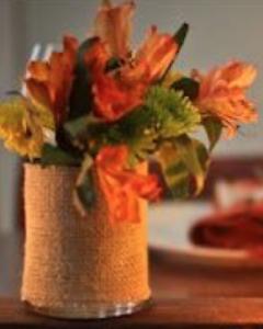 burlap maple vase