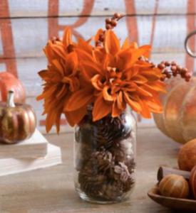 mum pinecone vase
