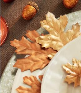 metallic maple leaves
