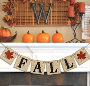 Burlap Fall Banner for Mantel