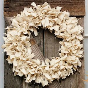 neutral fabric scrap wreath