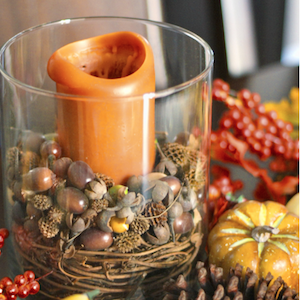 Pottery Barn Inspired Fall Candlewith acorns and grapevine