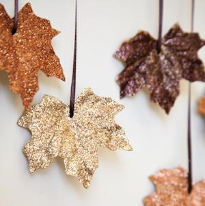 glitter fall leaves garland