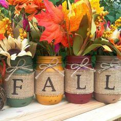 Centerpiece Cheap Fall Decor Ideas. Burlap Fall Mason Jar