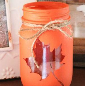 Mason Jar Fall Leaf Luminary