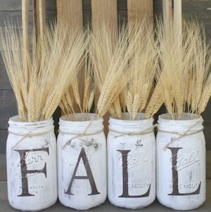 Rustic Fall Mason Jars Centerpiece filled with wheat