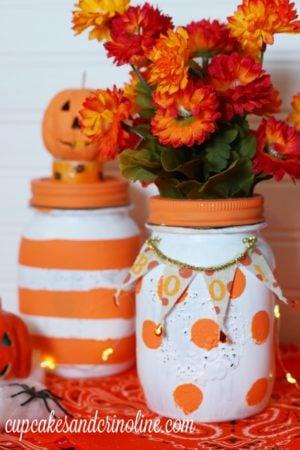 Polka Dot and Stripped Fall Mason Jar