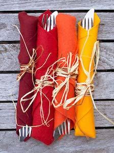 Raffia Wrapped Fall Colored Napkins