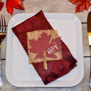 Thanksgiving maple leaf and burlap place Card