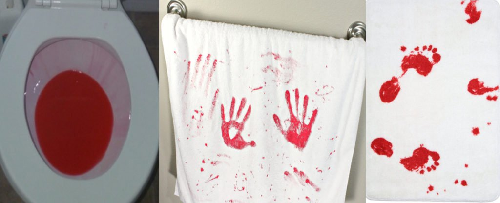 Bloody Bathroom Scene: White Shower Curtain (Dollar Tree) + Paint Brush  (for Writing On Toilet Bowl And Strokes Of Blood On Shower Curtain) + Cheap  White ...