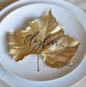 gold painted Maple Leaf Thanksgiving Table Place Cards