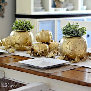 Gold Spray Painted Pumpkin Centerpieces