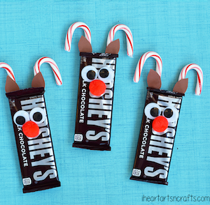 Rudolph Reindeer Candy Bars Christmas Treats for kids