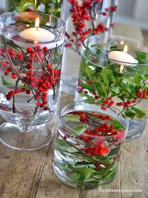 Easy Holly berry and floating candle DIY Christmas Centerpiece