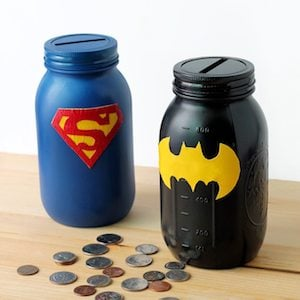 Mason Jar Superhero Bank DIY gift