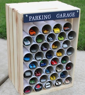 DIY Wooden Crate Parking Garage gift idea for Christmas