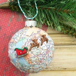 Santa's Sleigh Map Ornament