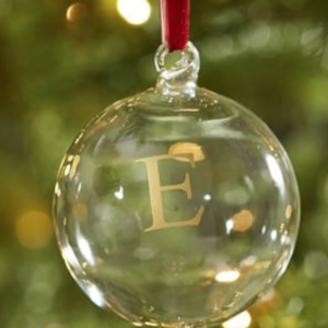 clear ornament + stencil + gold metallic acrylic paint + thin red ribbon for hanging