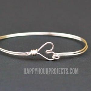 Heart Clasp White Wrapped Bangle Bracelet