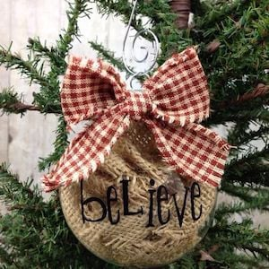 burlap christmas ornaments clear ornament burlap ribbon letter stickers plaid ribbon - Plaid Christmas Ornaments
