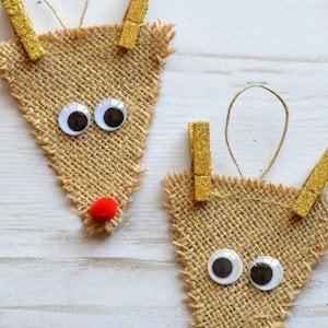 Burlap Reindeerornament