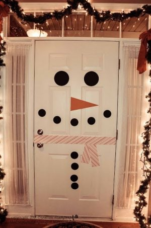 Snowman Door Decoration Construction Paper Red Striped Gift You Can Also Add The Same To Your Fridge If It S White Christmas Bow