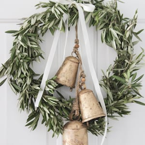 fresh greenery Farmhouse Christmas Wreath with hanging vintage bells
