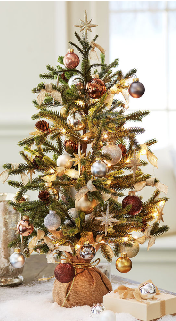 Mini Christmas Tree + Silver, Gold, Pewter and Copper Ornaments + Gold Stars + Gold Ribbon