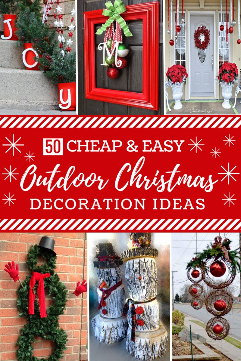 50 cheap easy diy outdoor christmas decorations for Cheap holiday decorations