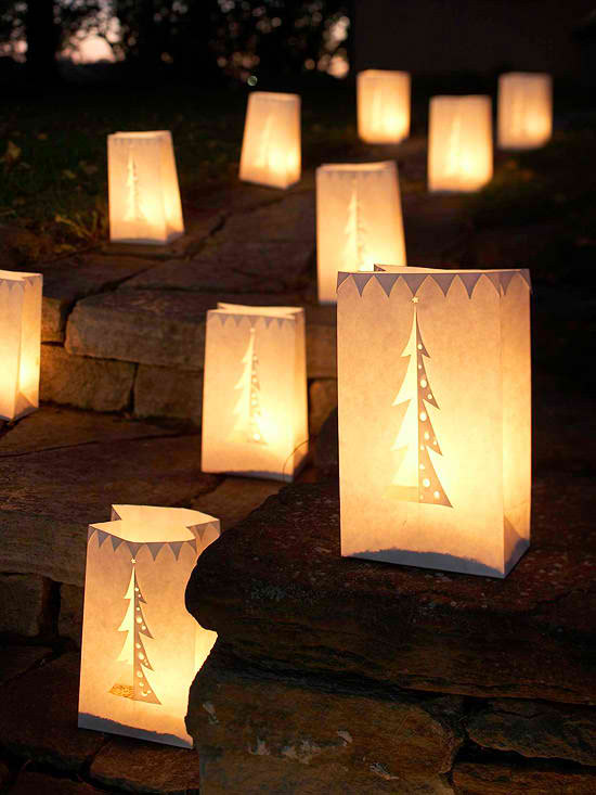 outdoor christmas luminaries candles light ideas - Cheap Christmas Decorations