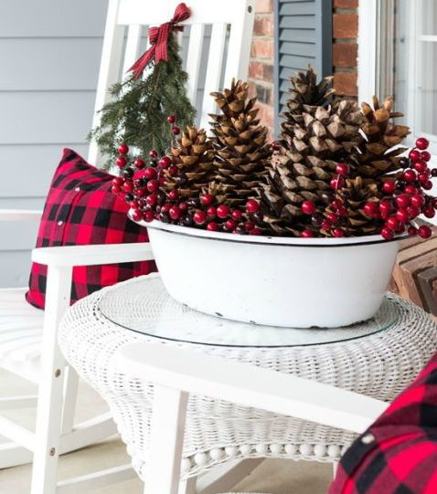 plaid christmas porch basket with pinecones and fall berries flannel fabric 3 small pillows - Outdoor Porch Christmas Decorations