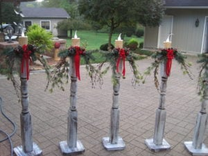 white paint sampler 2 home depot spindles battery operated led candles red ribbon christmas picks berry bushes evergreen and pine clippings - Painted Wood Christmas Yard Decorations