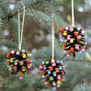 Easy Pom Pom and Pinecone Ornaments