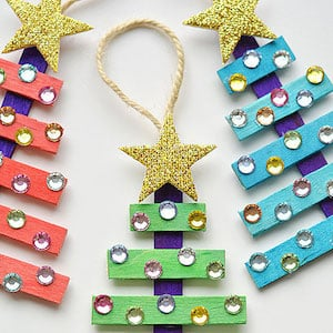 Glittering Popsicle Stick Christmas Trees Ornaments