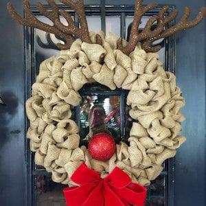 Rudolph Burlap Wreath