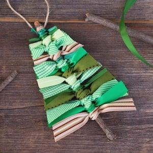 Scrap Ribbon Tree Christmas Ornaments