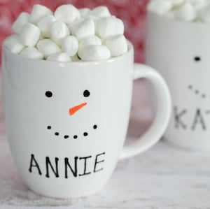 DIY Personalized Snowman Mugs christmas gift for kids