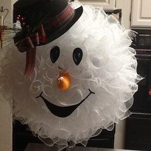Deco Mesh Snowman Face Christmas Wreath