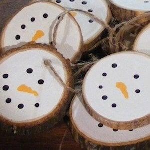 Rustic Log Slice Snowman Ornaments