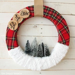 Let it Snow ribbon christmas Wreath with faux snow and christmas trees