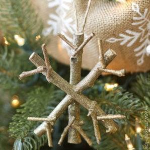 Twig Snowflake Christmas Ornament