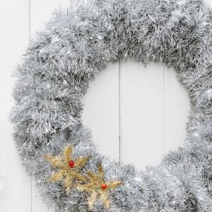 Fluffy Tinsel Garland Wreath