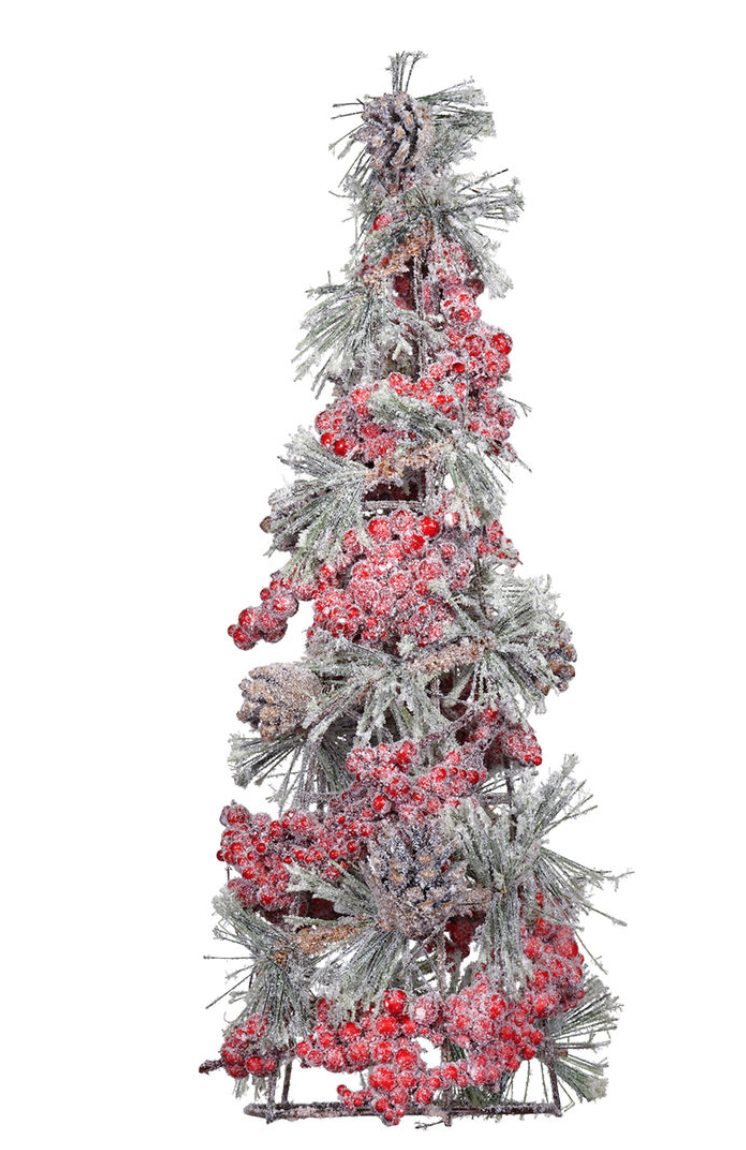 Mini Christmas Tree Dollar Red Berry Garland Pinecones Snow Spray 2 Party City